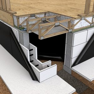 A peel-and-stick membrane protects a crawl space built with insulated concrete forms.