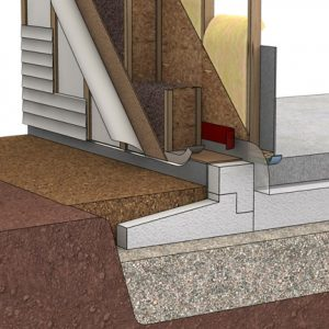 Foundation and wall of a zero-energy home.