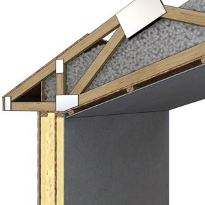 An OSB air barrier connects from the wall exterior to the ceiling indoors, providing a strong air barrier surrounding the building.