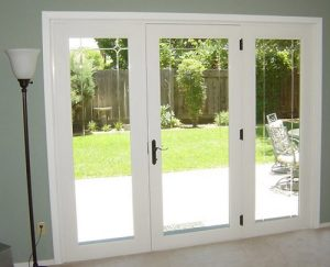 One door with fixed glass on each side is better for comfort and energy efficiency than a sliding glass door.